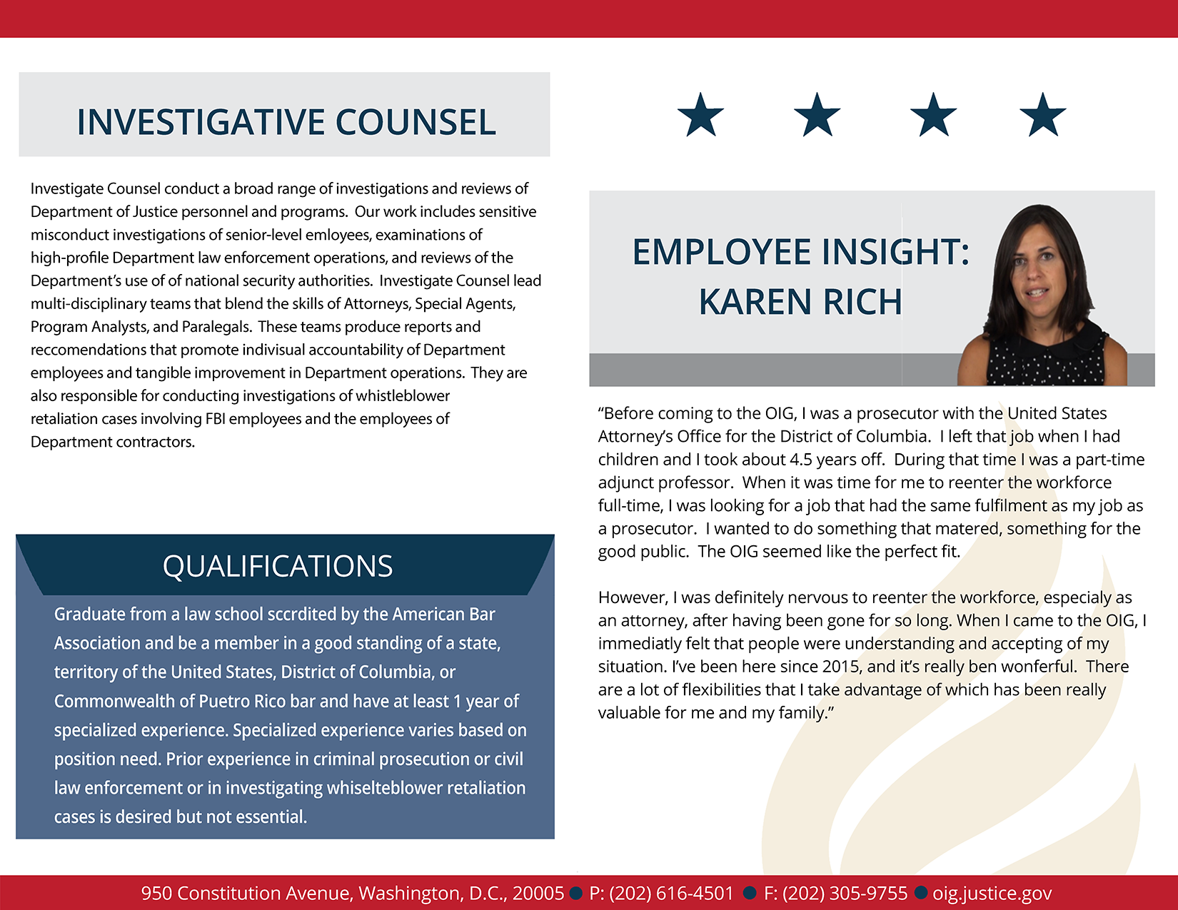 Learn more about the Investigative Counsel's employee experience
