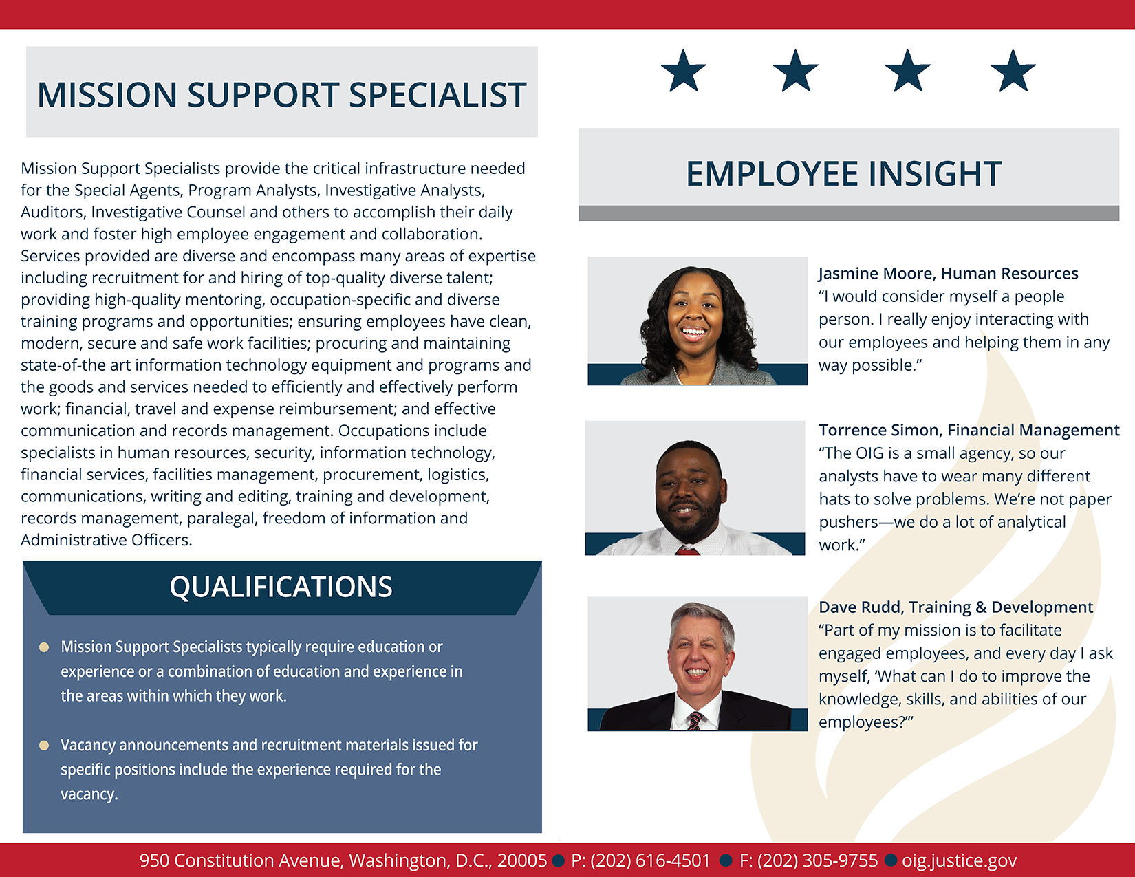 Read more about mission support employees experiences
