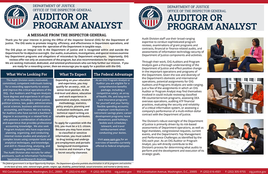 Learn more about working in the Audit Division